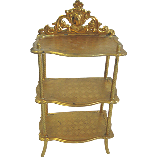 Antique German Erhard & Söhne Miniature Doll House ormolu decorative display shelf