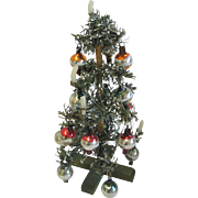 Antique miniature Christmas tree with bulbs & candles