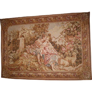 Antique wool handmade woven Tapestry Couple in Love