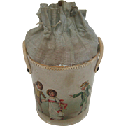 Antique candy container paper litho bucket with children graphics