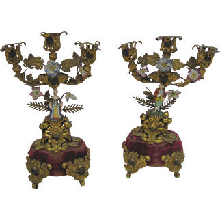 Antique French ormolu decorative porcelain pair candle holders