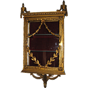 Antique French wall gilt glass ornate curio cabinet