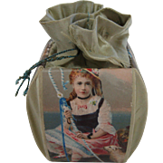 Antique candy container paper litho silk bucket with children graphics