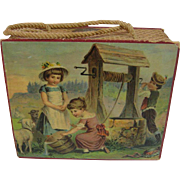 Antique German paper litho children graphics tote