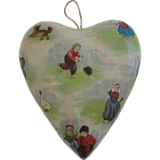 Antique heart paper litho Candy container Dutch children & animal graphics