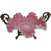 Antique satin glass ruffled pink small bowl in decorative metal holder