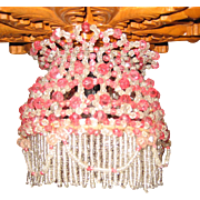 Rare large beaded chandelier with clear & rose colored glass beads