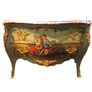 French Wooden Maitrise miniature Furniture with Painted Scenes a la Watteau