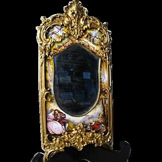 Antique Austrian bronze enamel Romantic beveled large mirror