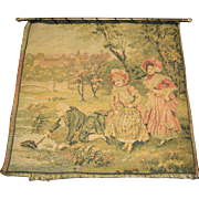 Antique large miniature wall hanging tapestry with metal holder