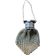Antique doll silver mesh purse