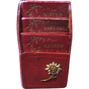 Antique French doll miniature red leather book holder