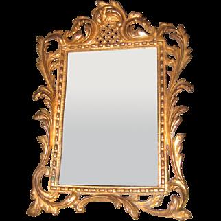 Antique large ornate gilt miniature mirror doll vignette
