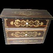 Antique Biedermeier large scale Boule gilt painted Furniture Doll chest