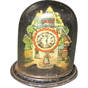 Antique tin litho miniature doll house clock glass dome