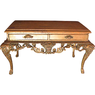 Antique French doll gilt decorative table