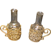 Antique pair French ormolu miniature bottle holders