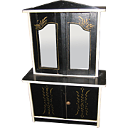 Large scale antique doll mirrored gilt design cupboard