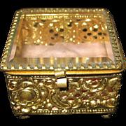 Antique French filigree ormolu & beveled glass jewel box