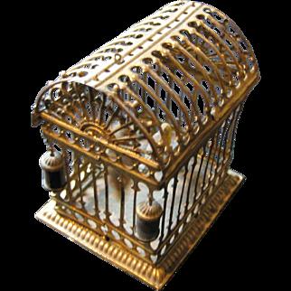 Antique German Miniature Doll House ormolu Erhard & Söhne large scale bird cage 2 birds