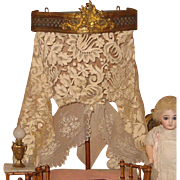 Antique French ormolu miniature doll bed decorative canopy
