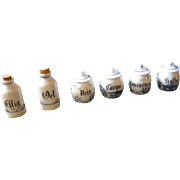 Antique German kitchen doll vignette porcelain Blue Onion miniature dollhouse canister set