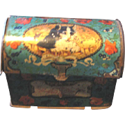 Antique miniature dome trunk litho cat kitten tin
