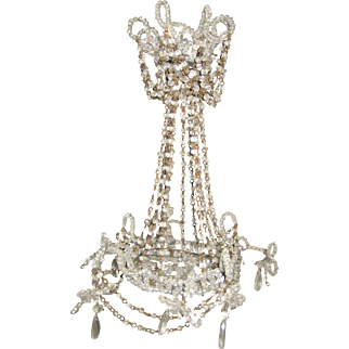 Antique doll French miniature large crystal chandelier