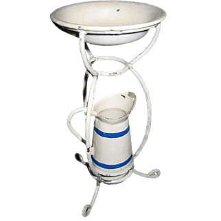 Antique German Doll house blue & white all original washstand with pitcher & bowl