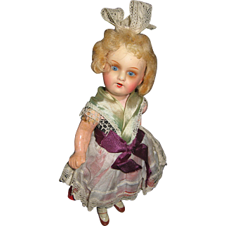 Antique German Celluloid jointed doll all original