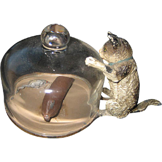 Antique miniature cat kitten with glass dome