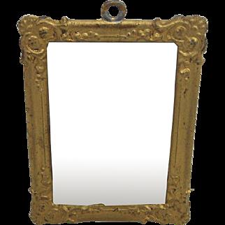 Antique German miniature mirror Decorative heavy embossed gilt metal