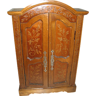 Antique doll French miniature decorative armoire