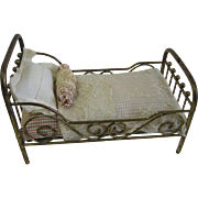 Antique Marklin brass small doll bed