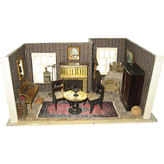 Antique miniature German Gottschalk doll house small room box with furnishings