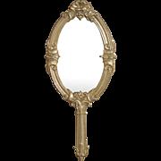 Antique German Embossed Soft Metal large Miniature Doll Hand Mirror