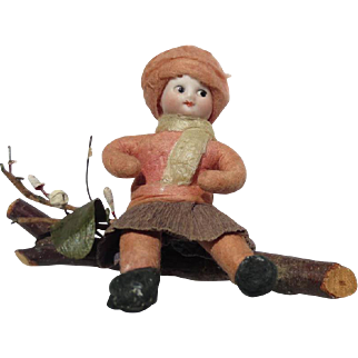 German Antique Christmas Heubach child cotton bisque figure large ornament