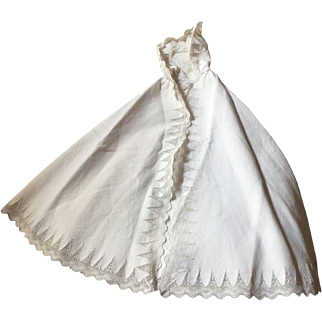 Antique doll white pique doll cape with hood