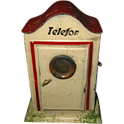 Antique German doll train tin Telefon booth