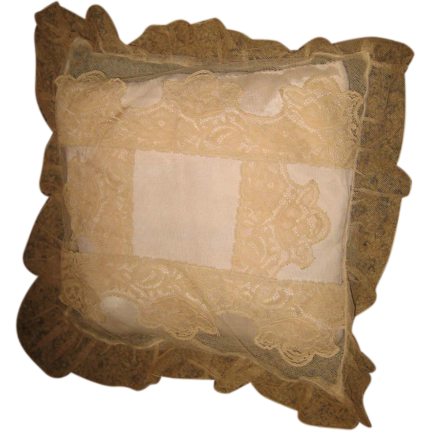 Decorative Pillows With Lace : Decorative beige lace antique small pillow from sondrakruegerantiques on Ruby Lane