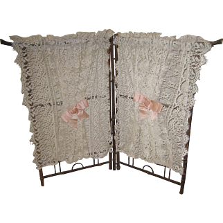 French Faux Bamboo antique wood & lace doll screen