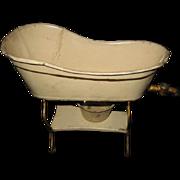 Antique German miniature Marklin tin tub on stand