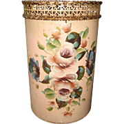 Antique painted tole toleware floral metal shabby pink waste basket articulated top