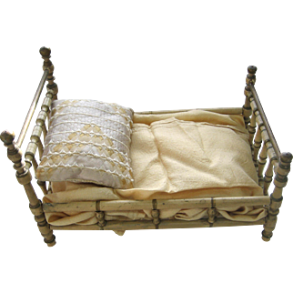 Antique German Christian Hacker white gold trim Wood Doll Bed