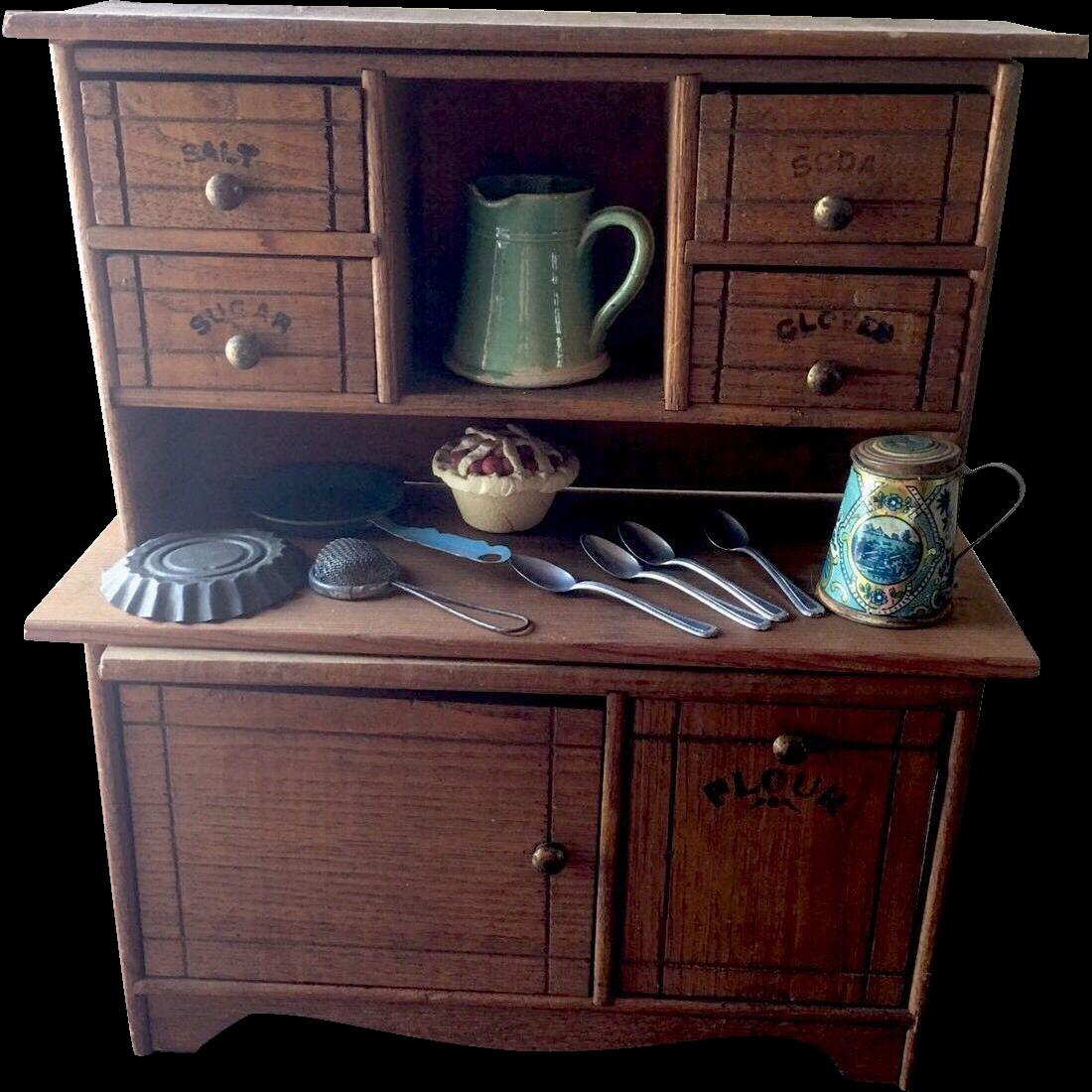 Oak Kitchen Cabinets For Sale: Oak Antique Doll Cass Kitchen Stepback Miniature Cabinet