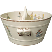 Sarreguemines French Faience Pottery Kate Greenaway Enfants Richard Divided Tub doll bath