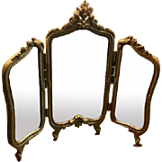 Antique doll gilt decorative metal 3 part Dressing Mirror Cherub crown