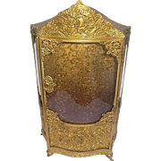 Antique A.B. PARIS gilt decorative filigree metal and bowed glass case vitrine