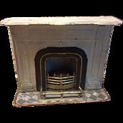Antique Marklin doll house miniature White metal fireplace