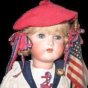 """K*R antique bisque doll 24"""" Sailor clothes"""